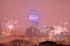 Vista aérea de Varsóvia Varsóvia do centro na noite ` S Eve Fireworks do ano novo imagens de stock