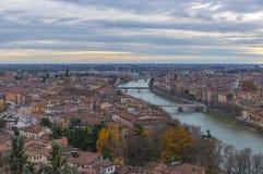 Vista aérea de Verona, Italia Foto de archivo libre de regalías