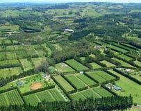 Vista aérea de viñedos y de granjas rurales Fotos de archivo libres de regalías