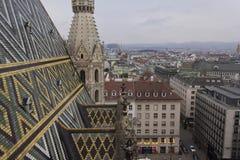 Vista aérea de Viena en la estación del invierno Imagen de archivo libre de regalías