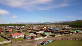 Vista aérea de vilas coloridas do Mongolian vídeos de arquivo