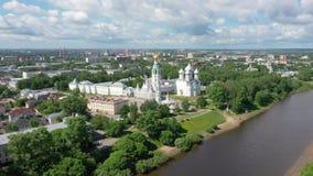 Vista aérea de Vologda kremlin, Rússia video estoque