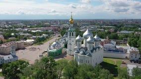 Vista aérea de Vologda kremlin, Rússia vídeos de arquivo