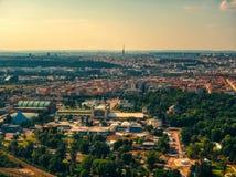 Vista aérea de Vystaviste em Praga fotos de stock royalty free