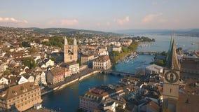 Vista aérea de Zurique filme