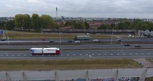 Vista aérea de A16, zwijndrecht, Países Bajos almacen de metraje de vídeo