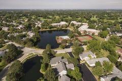 Vista aérea del árbol antiguo en Northbrook, IL Fotos de archivo