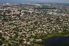Vista aérea del área industrial por el mar, ciudad Li Imagen de archivo libre de regalías