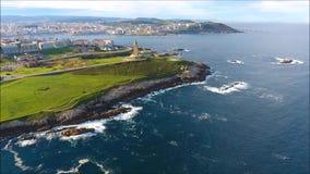 Vista aérea del abejón de un Coruña metrajes
