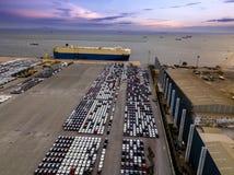 Vista aérea del astillero del concepto de la logística imagen de archivo libre de regalías