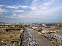 Vista aérea del astillero del concepto de la logística fotos de archivo