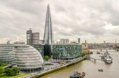 Vista aérea del banco del sur sobre el río Támesis, Londres Fotografía de archivo libre de regalías