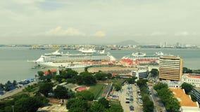 Vista aérea del barco de cruceros almacen de video