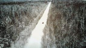 Vista aérea del bosque cubierta con la nieve, camino en invierno fotografía de archivo libre de regalías