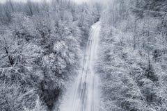 Vista aérea del bosque nevoso con un camino Imágenes de archivo libres de regalías