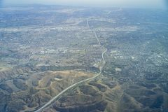 Vista aérea del Brea, Fullerton fotos de archivo libres de regalías