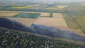 Vista aérea del Burning agrícola del campo, hierba amarilla en humo y fuego metrajes
