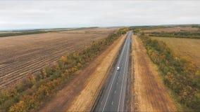 Vista aérea del camino almacen de video