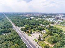 Vista aérea del camino del 17 de junio en Berlín, Alemania Imágenes de archivo libres de regalías