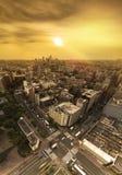 Vista aérea del camino de la travesía de la calle de Korakuen en la puesta del sol de fotos de archivo libres de regalías