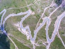 Vista aérea del camino de Transalpina, Rumania Foto de archivo libre de regalías