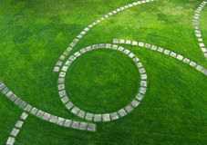 Vista aérea del camino del jardín Foto de archivo libre de regalías