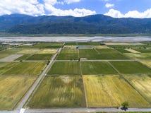 Vista aérea del campo con el pueblo y el arroz Foto de archivo