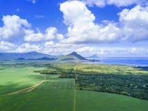 Vista aérea del campo de la caña de azúcar de Mauricio con las montañas Imagen de archivo libre de regalías