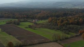 Vista aérea del campo del este de Eslovenia con los campos, del bosque y de los setos, setos que dividen campos y prados almacen de video