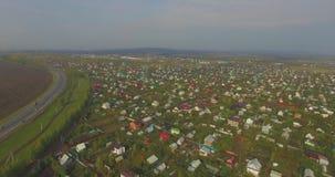 Vista aérea del campo ruso en otoño almacen de video
