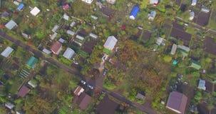 Vista aérea del campo ruso en otoño metrajes