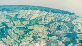 Vista aérea del campo verde de la agricultura Fotos de archivo libres de regalías