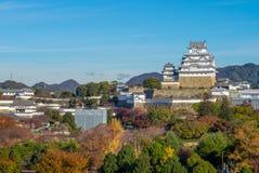 Vista aérea del castillo de Himeji en hyogo, Japón foto de archivo