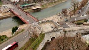Vista aérea del castillo medieval Mediana en Naissus almacen de metraje de vídeo