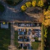 Vista aérea del cementerio en la puesta del sol imágenes de archivo libres de regalías
