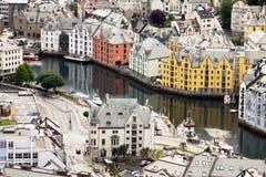 Vista aérea del centro de Alesund Imagen de archivo libre de regalías