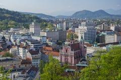 Vista aérea del centro de ciudad de Ljubljana, Eslovenia foto de archivo libre de regalías