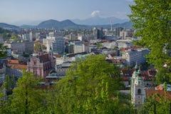 Vista aérea del centro de ciudad de Ljubljana, Eslovenia fotos de archivo