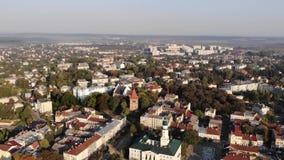 Vista aérea del centro de la ciudad de la ciudad de Drohobych, Ucrania metrajes