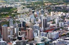 Vista aérea del centro financiero Nueva Zelanda de Auckland Imagenes de archivo