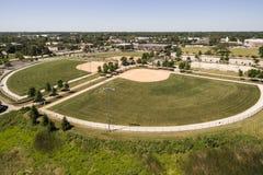 Vista aérea del complejo del béisbol Fotos de archivo