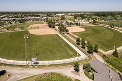 Vista aérea del complejo del béisbol Fotografía de archivo libre de regalías