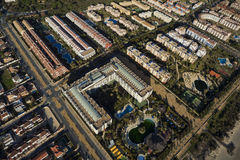 Vista aérea del complejo playero de Islantilla Imagen de archivo libre de regalías