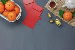 Vista aérea del concepto chino de la Feliz Año Nuevo de la decoración Foto de archivo libre de regalías