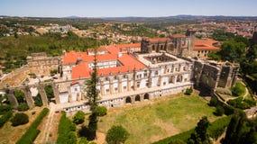 Vista aérea del convento del monasterio de Cristo en Tomar, Portugal Imagen de archivo libre de regalías