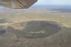 Vista aérea del cráter del meteorito Fotos de archivo libres de regalías