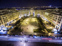 Vista aérea del cuadrado de Aristotelous y de la ciudad de Salónica Foto de archivo