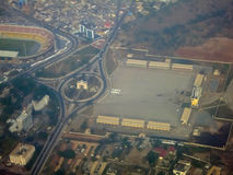 Vista aérea del cuadrado de la independencia - Accra, Ghana Foto de archivo