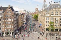Vista aérea del cuadrado de la presa, Amsterdam Imagen de archivo