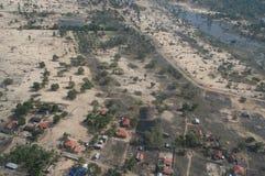 Vista aérea del daño del tsunami Fotos de archivo libres de regalías